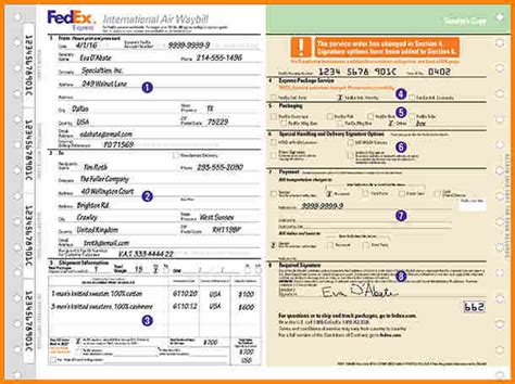 fedex air waybill  simple bill