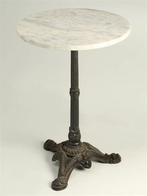 french bistro table white marble top iron base