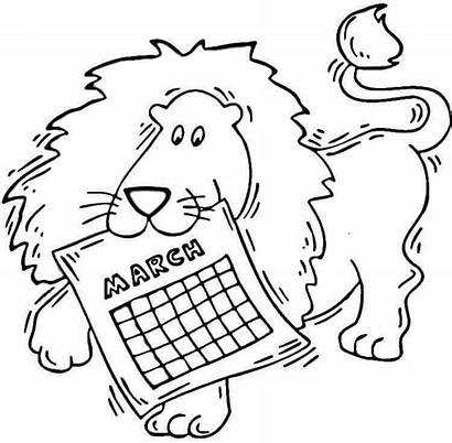 Coloring March Pages Printable Lion Seasons Calendar