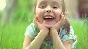 Little Girl Clapping Hands And Laughing Outdoors. Cute ...