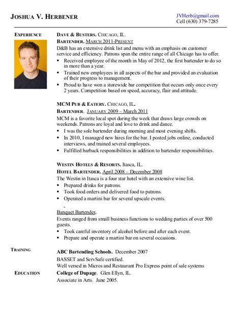 pin bartender resume description on