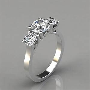 Three stone cross prong round cut engagement ring for Wedding ring descriptions