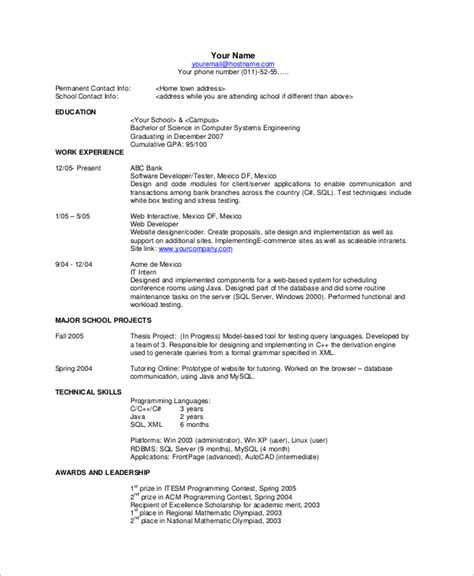 single page resume sle 28 images one page resume