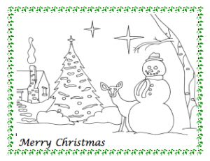 snowman christmas coloring page freeology