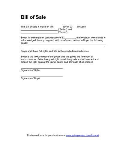 printable printable bill  sale  travel trailer