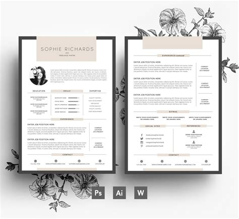 custom resume template  page cv cover letter psd file