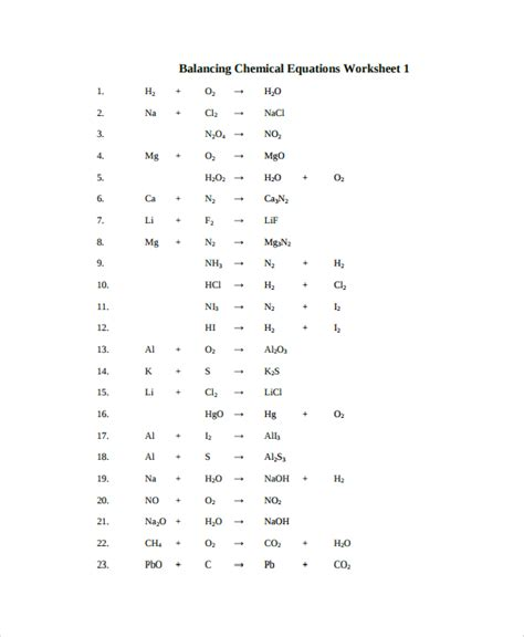 Sample Balancing Equations Worksheet Templates  9+ Free Documents Download In Pdf, Word