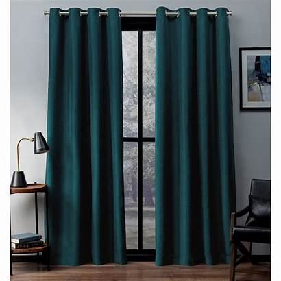 Teal Curtains Blackout Grommet Curtain Window Woven