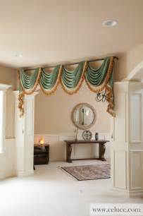 green chenille swag valance curtains by celuce traditional living room seattle by celuce