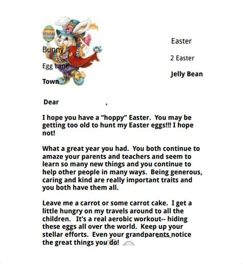 easter bunny letters     sample templates