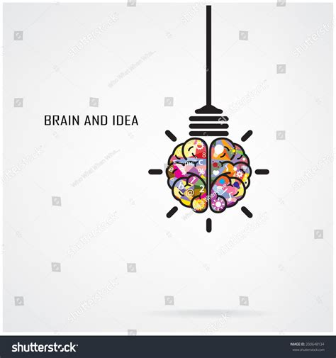 creative brain idea light bulb concept stock vector