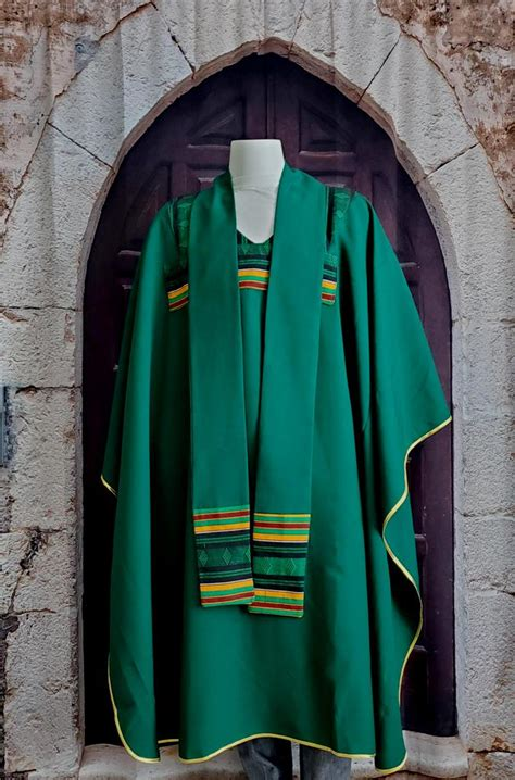 green chasuble  kente fabric  vestments