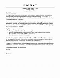 Best Sales Customer Service Advisor Cover Letter Examples