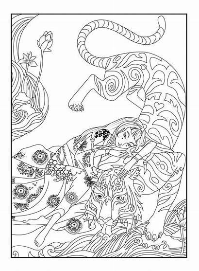 Coloring Japanese Pages Japan Tiger Adults Blossom