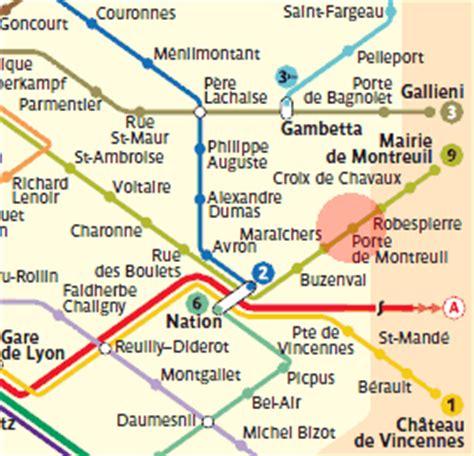 porte de montreuil station map metro