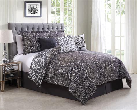 7 piece minka gray purple reversible comforter set