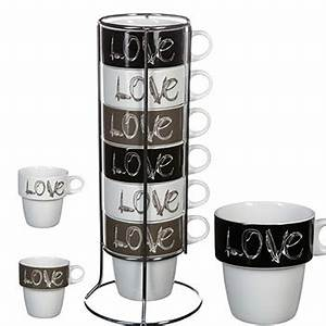 Support Tasse à Café : 6 tasses caf love avec support art de la table cuisine ~ Teatrodelosmanantiales.com Idées de Décoration