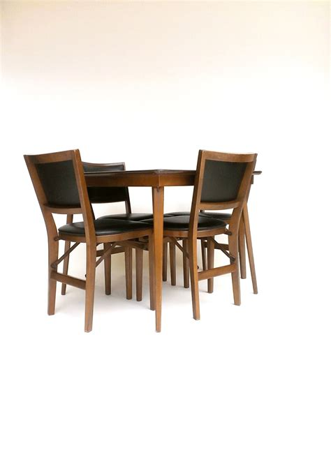 stakmore folding table chairs card table four chair set