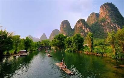 Guilin China Bamboo Landscape Mountains Yangshuo River