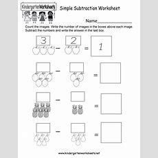 Simple Subtraction Worksheet  Free Kindergarten Math Worksheet For Kids