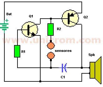 circuito detector de mentiras  dos transistores