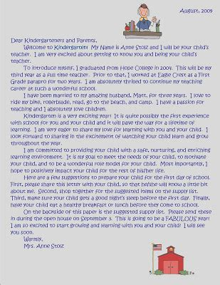 mrs stolz s kindergarten welcome letter and supply list 739 | welcome letter