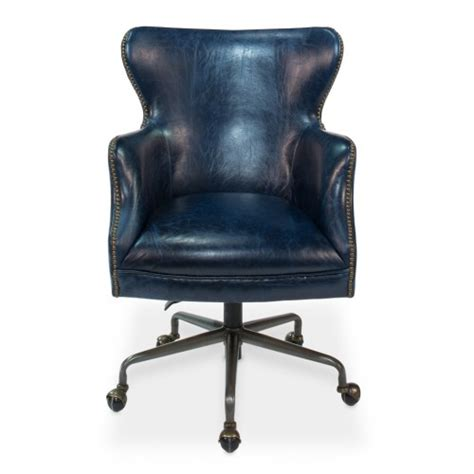 blue leather office chair on casters