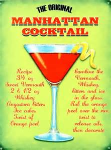 the original manhattan cocktail classic recipe tin sign buy