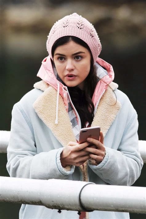 lucy hale filming a scene on the set of 'life sentence' in ...