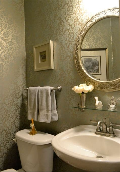 floral wallpaper powder room kld interiors pedestal