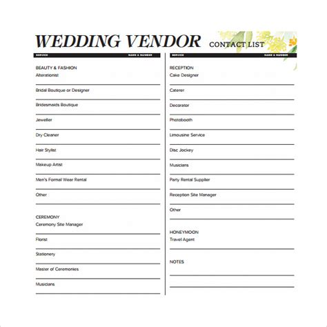 Wedding Vendor Checklist Template by Contact List Template 14 Free Documents In Pdf