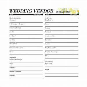 Contact list template 14 download free documents in pdf for Wedding vendor checklist template
