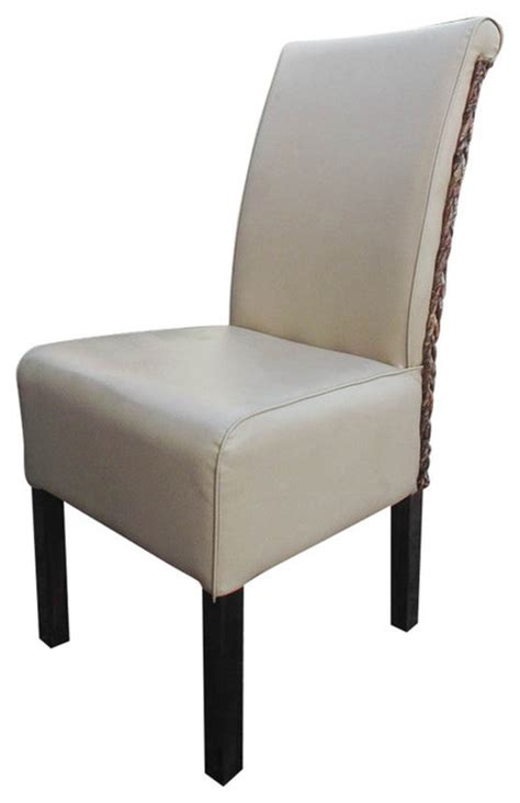 beige faux leather philip dining chair set of 2 light