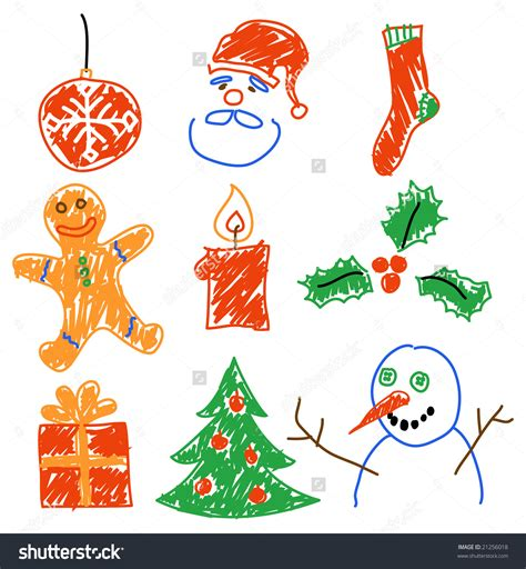 hand drawing christmas decorations santa snowman cookie