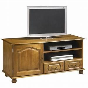 Meuble Tv En Chene : meuble banc tv ch ne 1 portes 2 tiroirs ~ Teatrodelosmanantiales.com Idées de Décoration
