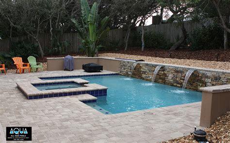 Kitchen Walls Ideas - modern pool with rock wall all aqua pools