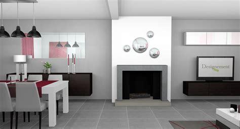 cuisine et salon moderne salle a manger peinte en gris