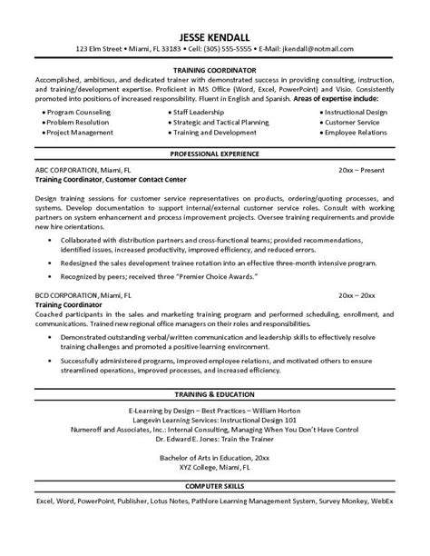 Workshop Facilitator Resume by Free Coordinator Resume Exle