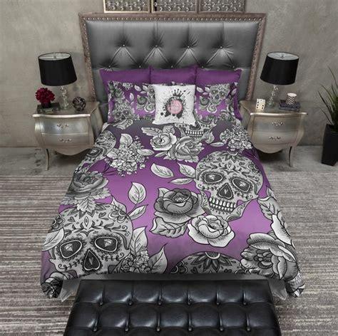 signature purple ombre sugar skull  rose bedding ink