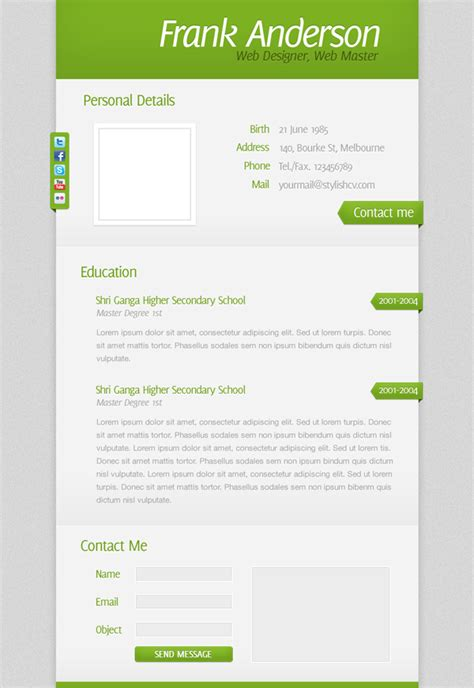 creating resumes in photoshop create a clean and simple r 233 sum 233 website design