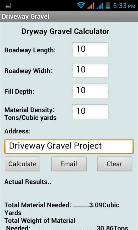 average driveway size driveway gravel calculator android apps on google play