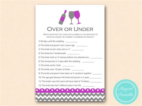 purple wine theme bridal shower games magical printable