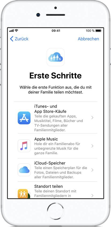 einen icloud speicherplan mit der familie teilen apple support