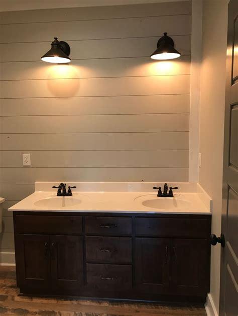 upstairs bath vanity  shiplap wall sw repose gray