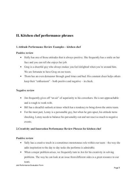 ii kitchen chef performance phrases attitude