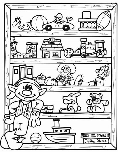 Elf Toy Shelf Christmas Coloring Pages Printable