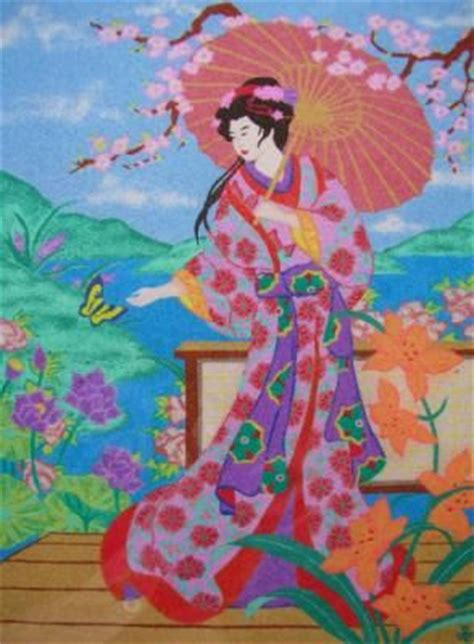 cuadro arena geisha arena colores dibujo  arena