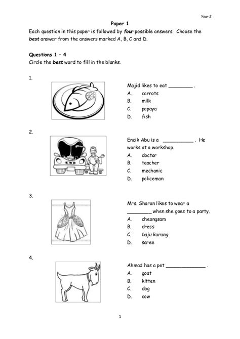 Year 2 English Language Paper 1 Test Paper