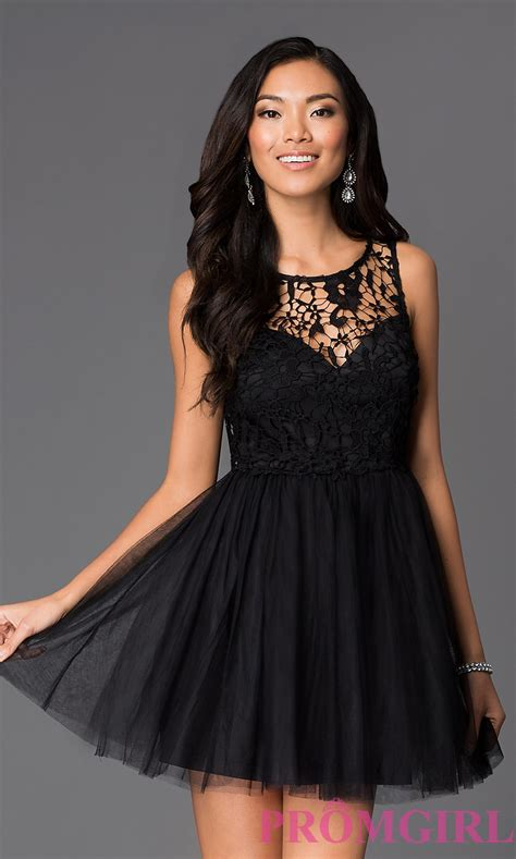 Short Lace Budget Fit-and-Flare Dress - PromGirl