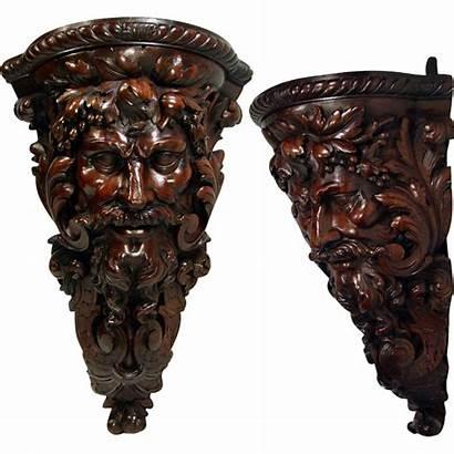 Antique Carved Carving Corner Hand Shelf Bracket